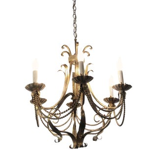 Antique French Brass Chandelier With 6 Arms For Sale