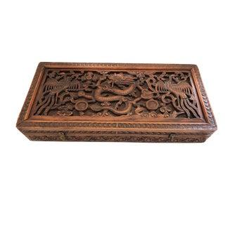 "Old Lg Asian Wedding Wood Box W/ Phoenix /Dragon 23.5"" W For Sale"