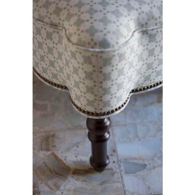 Brass Custom Holland and Sherry Fabric Upholstered Scalloped Ottoman For Sale - Image 7 of 8