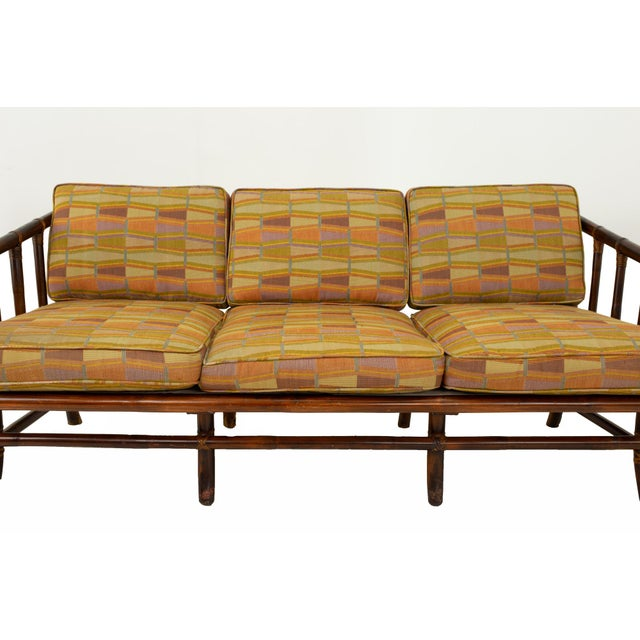 Wood John Wisner for Ficks Reed Style Bamboo Mid Century 3-Seater Sofa For Sale - Image 7 of 9