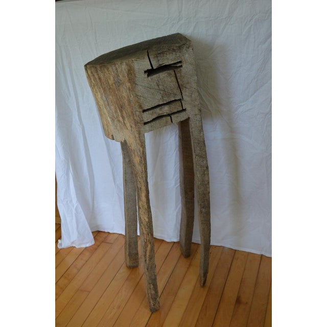 1960s Primitive Chopping Butcher Block With Knife Slots Carved From Fallen Maple Tree For Sale - Image 5 of 12