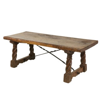 Italian Walnut Low Table with Carved Barley Twist Legs and Twisted Iron Cross Stretchers, Circa 1800 For Sale
