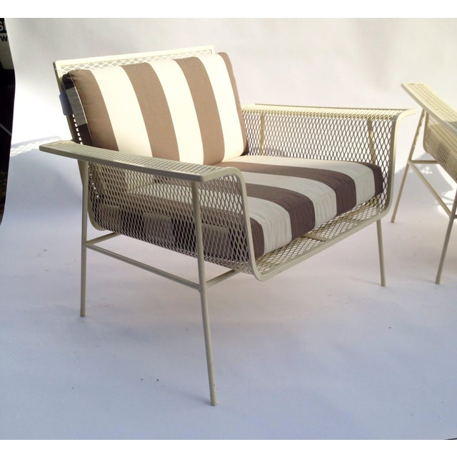 White Metal Outdoor Armchairs - Pair - Image 4 of 5