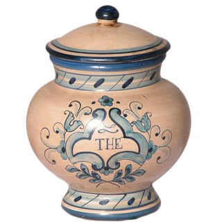 Italian Handpainted Ceramic Canister For Sale
