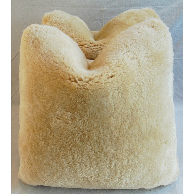 Plush Rich Golden Lambswool Pillows - Pair - Image 2 of 8