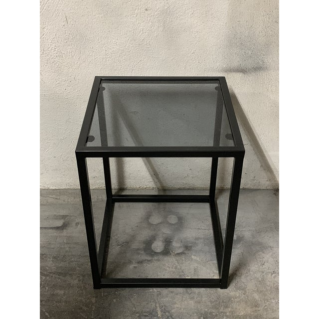 Modern New Modern Square Black Table With Fumee Glass Top, Indoor or Outdoor For Sale - Image 3 of 7