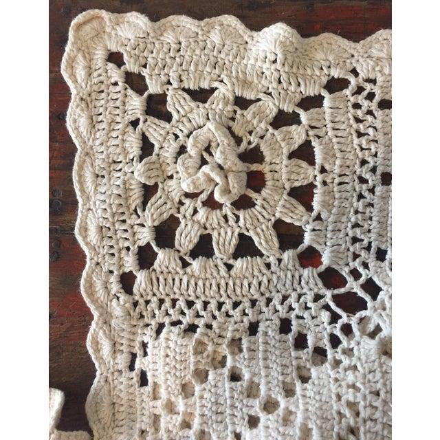 Linen & Cotton Crochet Throw Blanket - Image 3 of 9
