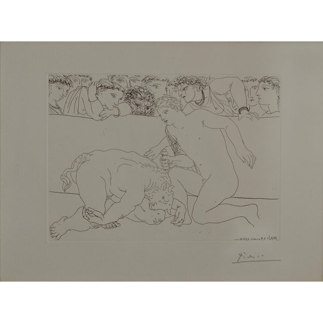 Minotaure Vaincu by Pable Picasso. This pencil signed etching by Pablo Picasso is plate 89 of the Vollard Suite,...