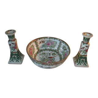 Hand Painted Ceramic Bowl and 2 Matching Painted Ceramic Candlestick Holders For Sale