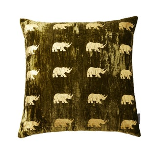 Arusha Green Velvet Accent Pillow With Rhinos For Sale