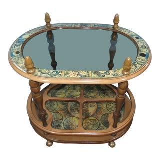 1960's Art Nouveau Florentia Italian Greek God Detailed Bar Cart