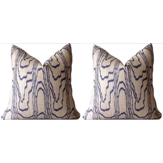 """Contemporary """"Slate Blue"""" Swirl Linen Pillow Covers - a Pair For Sale In Charleston - Image 6 of 6"""