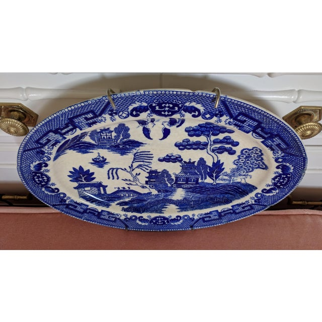 Vintage Blue Willow Pagoda Decorative Platter With Hanger For Sale - Image 4 of 10