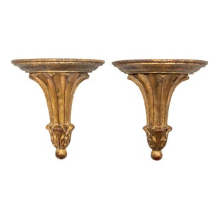 Mid 20th Century Vintage Italian Giltwood Wall Brackets - a Pair For Sale