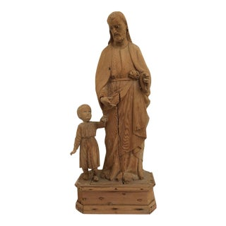 Antique Carved Wood Religious Sculpture For Sale