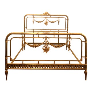 Antique French Empress Eugenie Ormolu and Glass Bed, Circa 1890's. For Sale