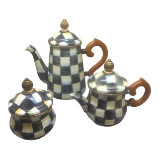 MacKenzie Childs Courtly Check Stacking Teapot, Sugar Pot, & Creamer