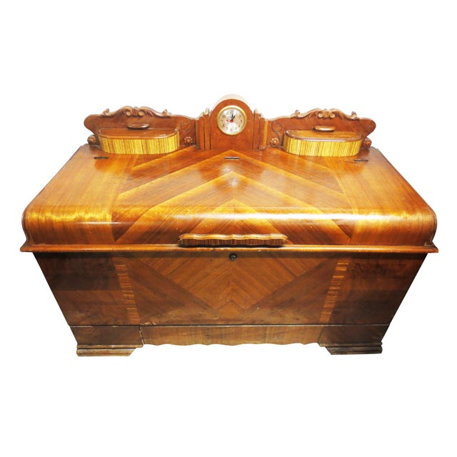 Art Deco Cedar Chest W/ Clock - Image 1 of 10