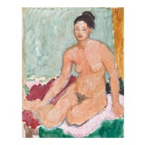 Image of 'Seated Nude' by Victor DI Gesu, California Post-Impressionist, Paris, Louvre, Académie Chaumière, Circa 1955 For Sale