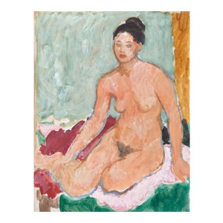 'Seated Nude' by Victor DI Gesu, California Post-Impressionist, Paris, Louvre, Académie Chaumière, Circa 1955 For Sale