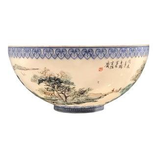 1980s Vintage Chinese Hand-Painted 'Landscape' Eggshell Porcelain Bowl For Sale