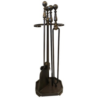 Handsome 5-Piece Set of Bronze Patina Georgian Style Fireplace Tools For Sale