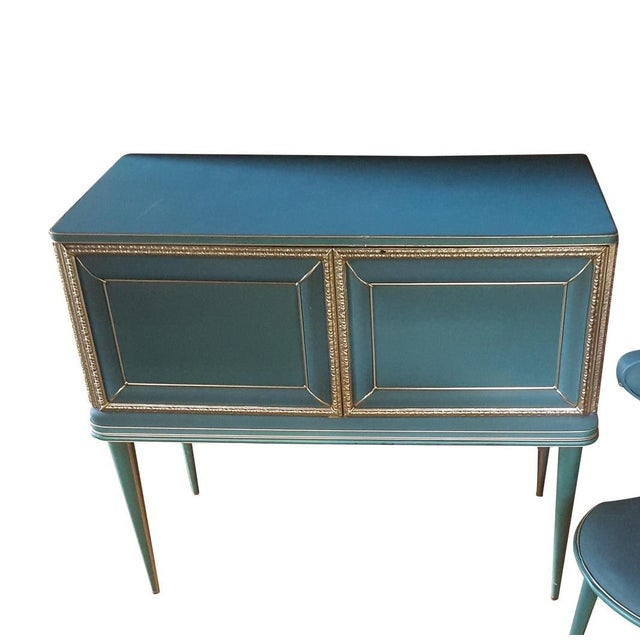 Vintage Mid-Century Turquoise and Gold Side Table For Sale In Baltimore - Image 6 of 6