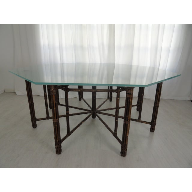 McGuire Octagonal Bamboo and Rattan Dining Table For Sale - Image 11 of 11