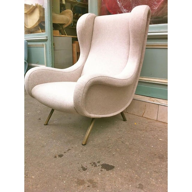 Marco Zanuso Zanuso Vintage Superb Model Senior, Newly Reupholsterd in Beige For Sale - Image 4 of 9