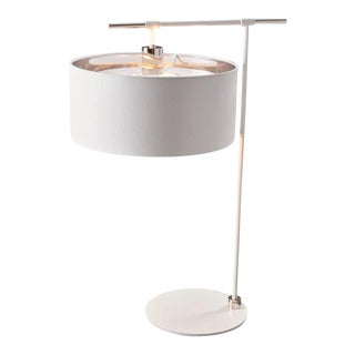 Balance White/Polished Nickel Table Lamp For Sale
