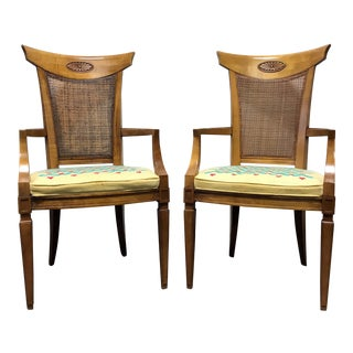 DREXEL HERITAGE Palazzo Italian Provincial Neoclassical Cane Dining Captain's Arm Chairs - Pair