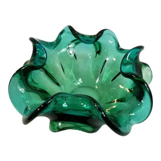 Murano Emerald Green Art Glass Ruffled Bowl Dish For Sale