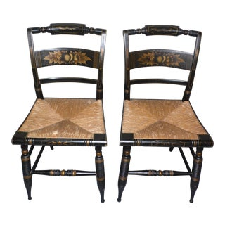 Antique Turtle Back Hitchcock Stenciled Chairs - A Pair