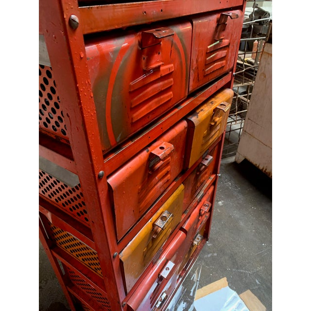 1970s Vintage Industrial Orange 10-Basket Metal Locker Storage For Sale - Image 5 of 13