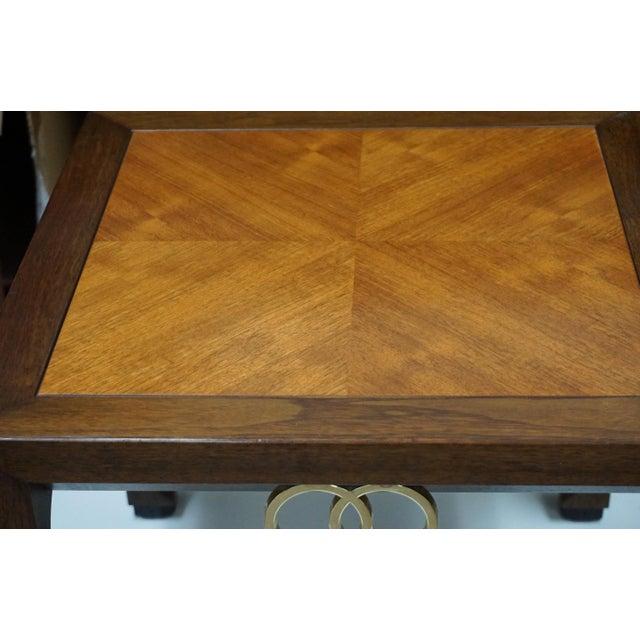 Michael Taylor for Baker Side Table It is dark mahogany and natural mahogany. It has the Taylor's distinctive interlocking...