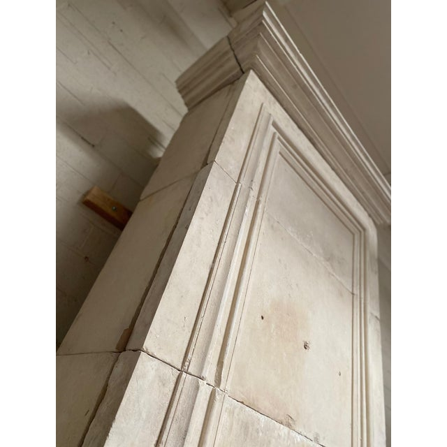 French 19th Century Limestone Mantel with Trumeau For Sale - Image 3 of 9