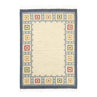 """Late 20th Century Swedish Flat Weave Rug - 5'7"""" X 8'0"""" For Sale"""