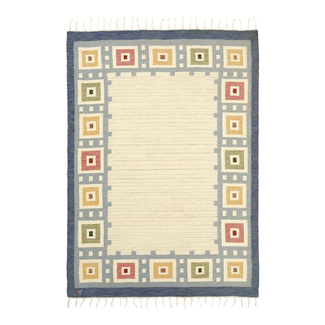 "Swedish Flat Weave Rug - 5'7"" X 8'0"" For Sale"