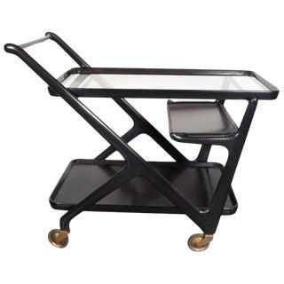 Italian Mid-Century Modern Bar Cart in Ebonized Walnut, Attributed to Ico Parisi