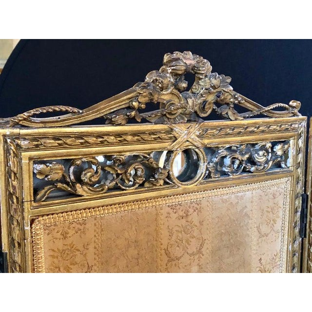 Black Louis XVI Style 3-Panel Folding Screen / Room Divider With French Tapestry For Sale - Image 8 of 13
