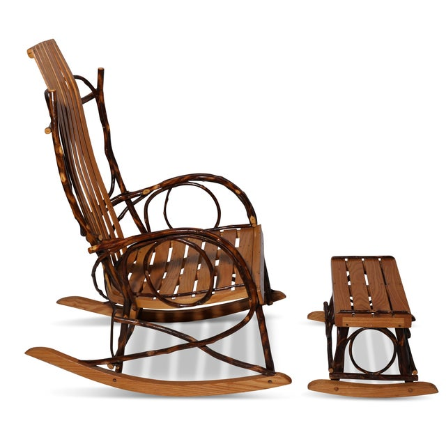 Traditional Amish Bentwood Rocker & Footstool Set For Sale - Image 3 of 6