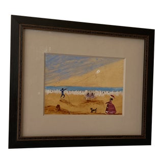 """Contemporary French """"Day at the Beach"""" Oil on Cardboard Painting by Pauline Bordeaux, Framed For Sale"""