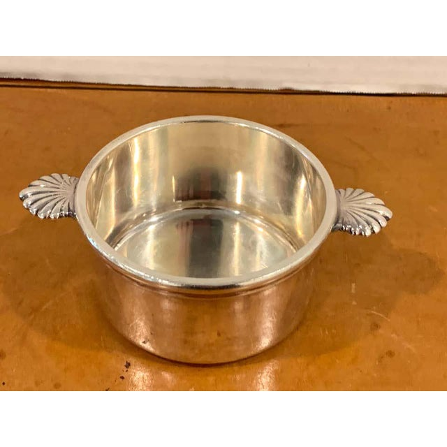Neoclassical French Silverplated Handled Open Tureens/ Pot De Crème by Europe Felix - Set 6 For Sale - Image 3 of 10