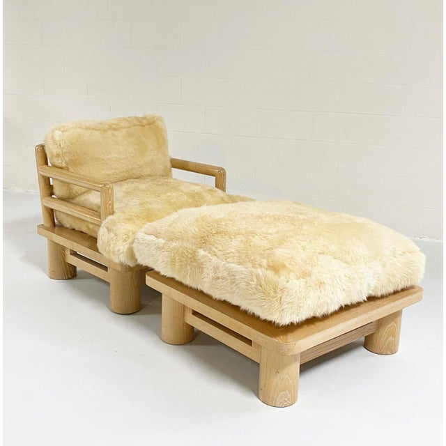 Karl Springer Karl Springer Dowelwood Lounge Chair and Ottoman With Sheepskin Cushions For Sale - Image 4 of 5