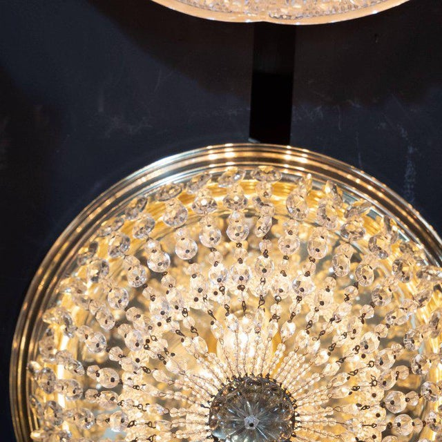 Metal 1940s Hollywood Domed Two-Tier Cut Crystal Flush Mount With Circular Brass Base For Sale - Image 7 of 8