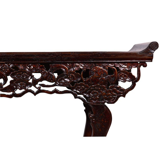 Chinese Antique Open Carved Altar Table For Sale - Image 5 of 10
