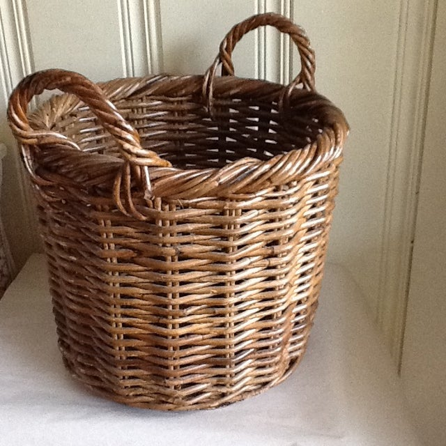 Large Natural Wood Wicker Basket - Image 6 of 6