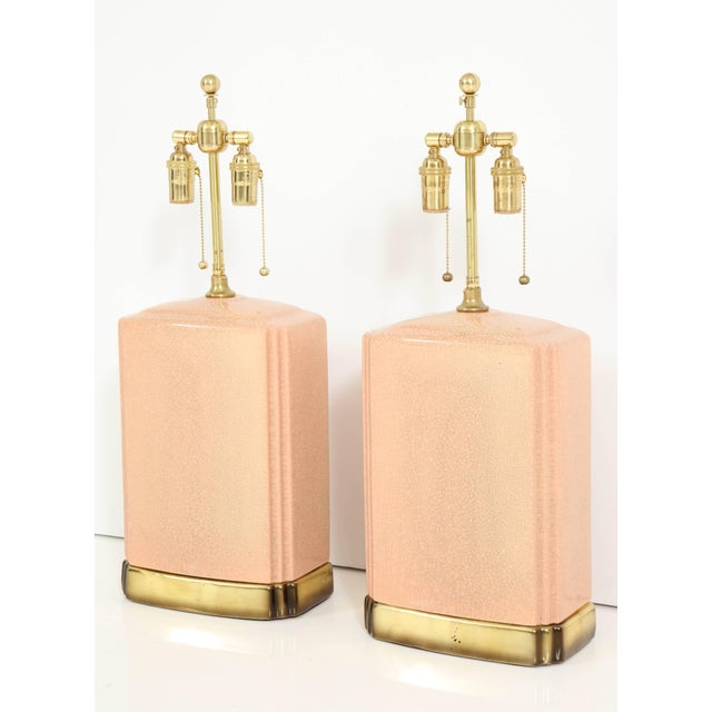 Pink and Brass Crackle Glazed Ceramic Lamps - a Pair For Sale - Image 9 of 12