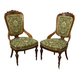 19th Century Antique Victorian Carved Green Upholstered Side Chairs - Set of 2 For Sale