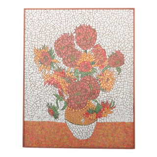 Mid Century Tile Mosaic After Van Gogh's Sunflowers For Sale